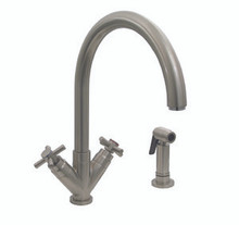 "Whitehaus 3-03942CH85 Luxe+ Two Handle Single Hole Kitchen Faucet - ""V"" Cross Handles & Side Spray - Chrome"