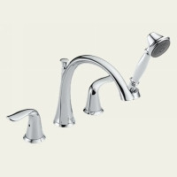 Delta Lahara T4738 Two Handle Roman Tub Faucet Trim With Hand Shower -  Chrome
