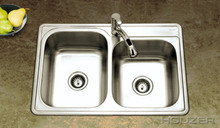 Hamat 33'' x 22'' x 8'' Kitchen Sink Double Bowl - 1 Hole - Stainless Steel