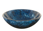 "Aquabrass 97027 Round Basin Glass Vessel Sink 16"" x 5 1/2"" - MarbleBLue"