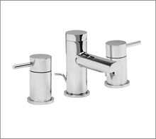 Aquabrass 61016BN Two Handle Widespread Lavatory Faucet - Straight Lever Handles - Brushed Nickel