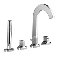 Aquabrass Cut 39518BN Two Handle Roman Tub Faucet With Handshower - Deck Mount - Brushed Nickel