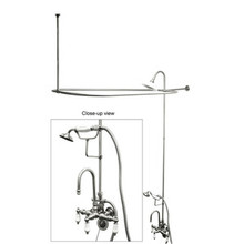 "Kingston Brass Clawfoot Tub High Rise Faucet & Handshower with Shower Riser, Shower Head, Curtain Rod, Drain, & 22"" Supply Lines - Polished Chrome"