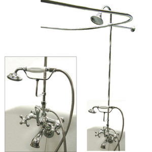 Clawfoot Tub Shower Riser.Kingston Brass Clawfoot Tub Faucet Handshower With Shower Riser Shower Head Curtain Rod Drain 24 Supply Lines Polished Chrome