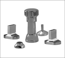Aquabrass Cut 39526PC 4 Hole Bidet Faucet with Rectangular Handles - Chrome