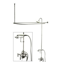 "Kingston Brass Clawfoot Tub Faucet & Handshower with Shower Riser, Shower Head, Curtain Rod, Drain, & 22"" Supply Lines - Polished Chrome CCK3181AL"