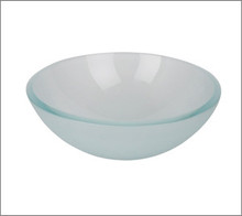 "Aquabrass CF139 Round Basin Countertop Vessel Sink 12"" x 4 1/2"" - Crystal Frosted Glass"