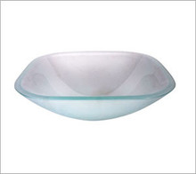 Aquabrass CF153 Square Basin Countertop Vessel Sink 17'' x 17'' x 6 1/4''  - Crystal Frosted Glass