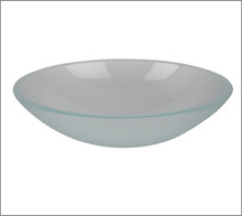 Aquabrass CF152 Oval Basin Countertop Vessel Sink 20'' x 14 3/4'' x 5 3/4''  - Crystal Frosted Glass