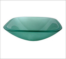 Aquabrass GF193 Square Basin Countertop Vessel Sink 17'' x 17'' x 6 1/4''  - Frosted Glass