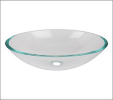 Aquabrass CC152 Oval Basin Countertop Vessel Sink 20'' x 14 3/4'' x 5 3/4''  - Crystal Clear Glass