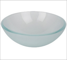 Aquabrass CF131 Round Basin Countertop Vessel Sink 17'' x 5 3/4'' - Crystal Frosted Glass