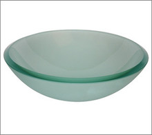 Aquabrass GF191 Round Basin Countertop Vessel Sink 17'' x 5 3/4'' - Frosted Glass