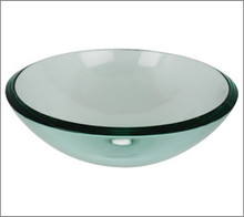 Aquabrass GC191 Round Basin Countertop Vessel Sink 17'' x 5 3/4'' - Clear Glass