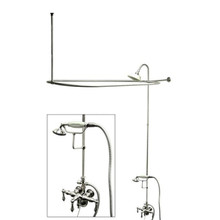"Kingston Brass Clawfoot Tub Faucet & Handshower with Shower Riser, Shower Head, Curtain Rod, Drain, & 22"" Supply Lines - Polished Chrome CCK3141AL"