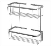 Aquabrass 2068PC Two Tier Rectangle Shower / Tub Basket - Chrome