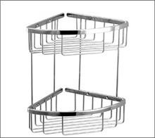 Aquabrass 2067BN Two Tier Triangle Shower / Tub Basket-Brushed Nickel