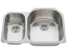 "Polaris PR1213 Large Right Bowl Offset Double Stainless Steel Undermount Kitchen Sink 31 1/2"" W x 20 3/4"" L - 18 Gauge - Brushed Satin"
