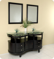 "Fresca FVN3331ES Modern 63"" Double Glass Sink Bathroom Vanity Cabinet & Faucet & Two Mirrors  - Espresso"