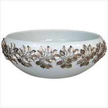 "Linkasink Laurel White 17"" Porcelain Vessel Sink with Metal Leaves"