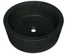 "Polaris P268 Honed Basalt Black Granite Stone Vessel Lavatory Sink 17"" Diam. X 7"" D"