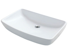 "Polaris P053VW Porcelain Bathroom Vessel Sink 23 1/2"" W x 14 3/4"" L - White"