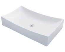 "Polaris P033VW Porcelain Bathroom Vessel Sink 25 1/2"" W x 15 3/4"" L - White"