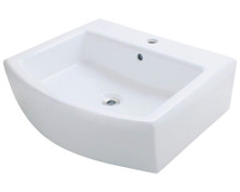 "Polaris P003VW Porcelain Bathroom Vessel Sink 22"" W x 19 5/8"" L - White"