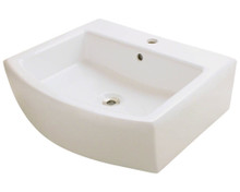 "Polaris P003VB Porcelain Bathroom Vessel Sink 22"" W x 19 5/8"" L - Bisque"