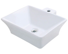 "Polaris P092VW Porcelain Bathroom Vessel Sink 18 3/4"" W x 17 1/4"" L - White"