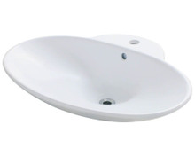 "Polaris P062VW Porcelain Bathroom Vessel Sink 24 5/8"" W x 19 1/4"" L - White"