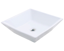 Polaris P071VW White Porcelain Bathroom Vessel Sink, 15 3/4 in. Square