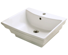 "Polaris P061VB Bisque Porcelain Bathroom Vessel Sink 19 7/8"" W x 17 1/8"" L"