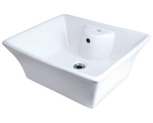 "Polaris P051VW White Porcelain Bathroom Vessel Sink 18 7/8"" W x 15"" L"