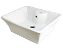 "Polaris P051VB Bisque Porcelain Bathroom Vessel Sink 18 7/8"" W x 15"" L"