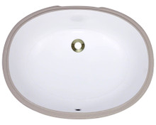 "Polaris PUPLW White Undermount Porcelain Bathroom Sink 22"" W x 16 3/4"" L x 7 3/4"" D"