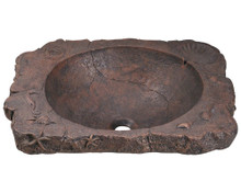 "Polaris P069 Bronze Drop-In Bathroom Sink 23"" W x 18 1/2"" L - Aged Patina Bronze"