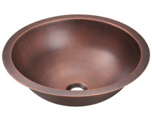 "Polaris P229 Single Bowl Bathroom Sink - Undermount, Topmount, or Vessel 16 1/2"" Diameter - Hammered Copper"