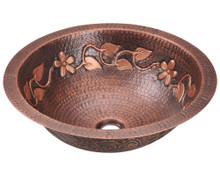 "Polaris leaves design P329 Single Bowl Bathroom Sink - Undermount, Topmount, or Vessel 16 1/2"" Diameter - Hammered Copper"