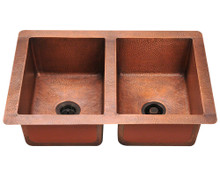"Polaris P209 Double Equal Bowl Undermount Kitchen Sink 33"" W x 22"" L - Hammered Copper"