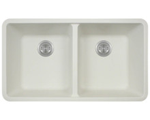 "Polaris P208W Double Equal Bowl AstraGranite Undermount Kitchen Sink 32 1/2"" W 18 5/8"" L - White"