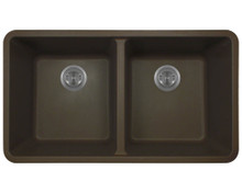 "Polaris P208M Double Equal Bowl AstraGranite Undermount Kitchen Sink 32 1/2"" W 18 5/8"" L - Mocha"