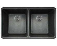 "Polaris P208BL Double Equal Bowl AstraGranite Undermount Kitchen Sink 32 1/2"" W 18 5/8"" L - Black"
