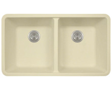 "Polaris P208BE Double Equal Bowl AstraGranite Undermount Kitchen Sink 32 1/2"" W x 18 5/8"" L - Beige"