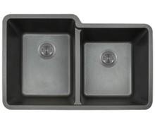 "Polaris P108BL Double Offset Bowl AstraGranite Undermount Sink 32 1/2"" W x ( L ) 20 3/8"" L ( R ) 18 3/8"" L - Black"