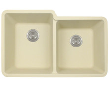 "Polaris P108BE Beige Double Offset Bowl AstraGranite Kitchen Sink Beige 32 1/2"" W x ( L ) 20 3/8"" L ( R ) 18 3/8"" L"