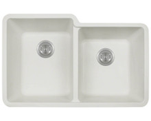 "Polaris P108W Double Offset Bowl AstraGranite Undermount Sink 32 1/2"" W x ( L ) 20 3/8"" L ( R ) 18 3/8"" L - White"