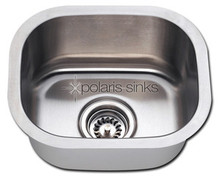 "Polaris P2151-18 Square Stainless Steel Undermount Bar Kitchen Sink 15"" W x 12 3/4"" L - Brushed Satin"