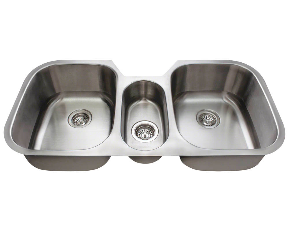 Polaris P1254-16 Triple Bowl Stainless Undermount Kitchen Sink 42 1/4\