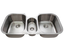 "Polaris P124 P1254-16 Triple Bowl Stainless Steel Undermount Kitchen Sink 42 1/4"" W x 20 1/2"" L - 16 Gauge - Brushed Satin"